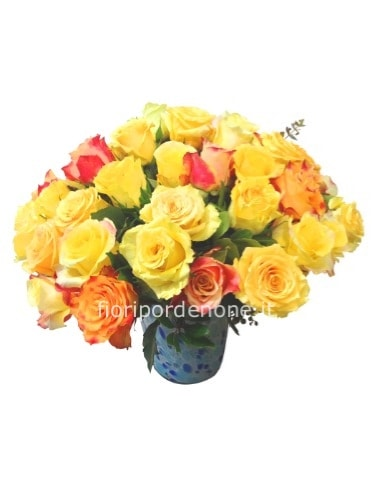 Bouquet  con rose giallo e arancio